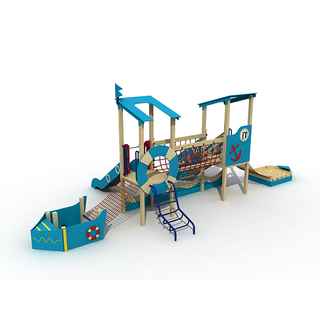 Parco divertimenti Kid Playground Childrens Wooden Pirate Ship Playset